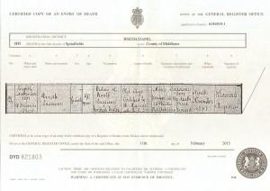 Dinah Sassiene death certificate 1881