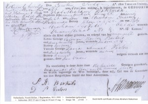 Jonas Abraham Waterman birth certificate 1822
