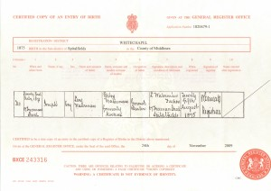 Joseph Waterman birth certificate 1875
