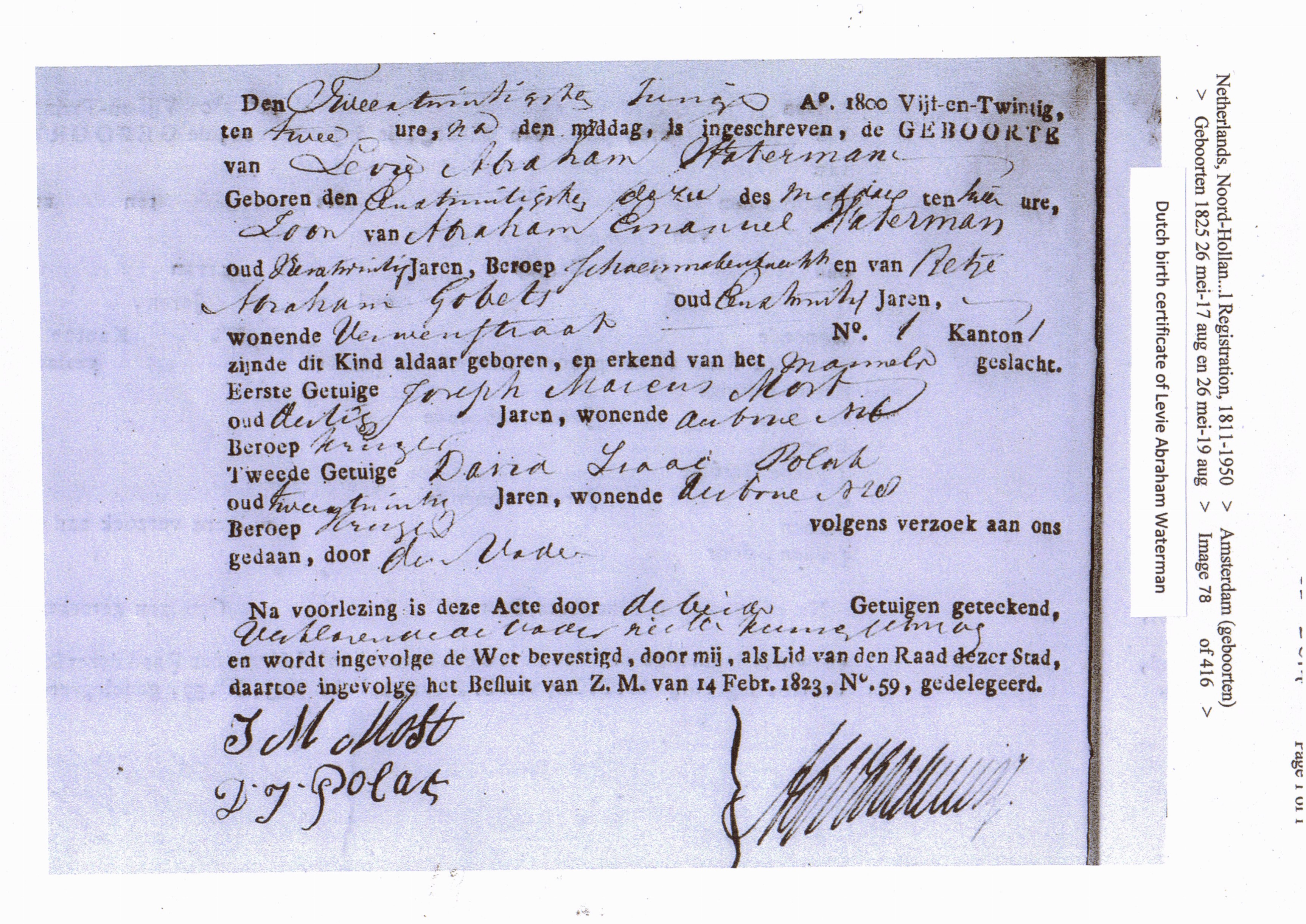 Waterman dutch family waterman levie abraham waterman birth certificate 1825 1betcityfo Image collections