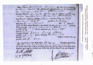 Levie Abraham Waterman birth certificate 1825