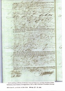 Marriage certificate Abraham Emanuel Waterman & Betje Abraham Gobets 1823