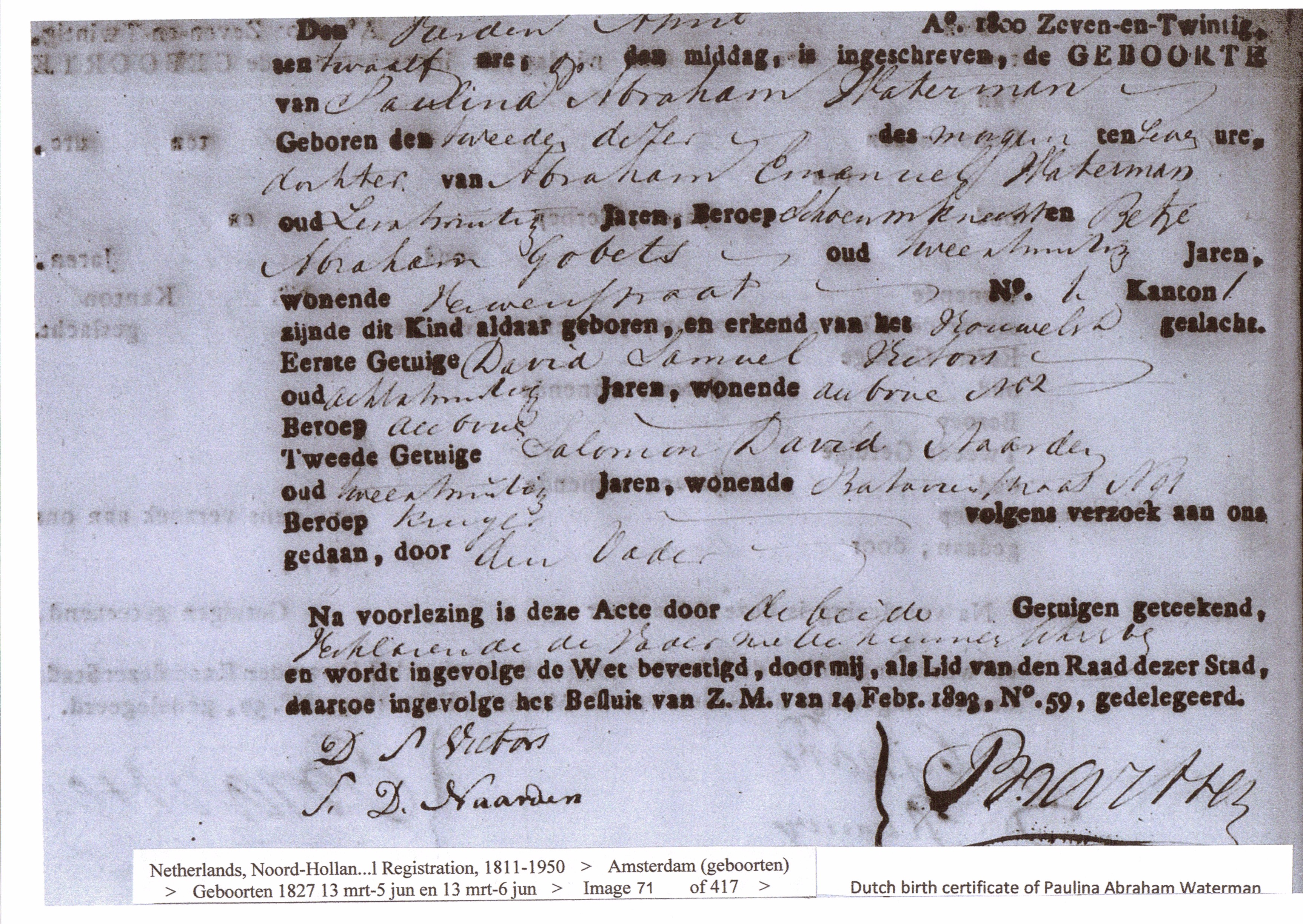 Waterman birth marriage and death certificates dutch family paulina abraham waterman birth certificate 1827 aiddatafo Gallery